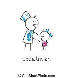 pediatra, con el niño