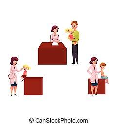 pediatra, dzieciaki, chidren, pracujący, doktor