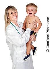 pediatra, mulher, com, um, assustado, bebê