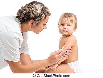 pediatria, doutor, dar, criança, injeção, vacina