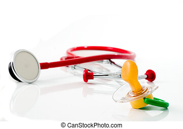 pediatric #1 - red stethoscope with green pacifier isolated