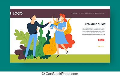 Pediatric clinic and family doctor landing web page template...