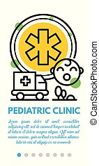 Pediatric clinic banner, outline style