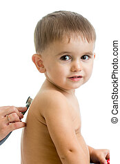 Pediatric doctor examining child boy with stethoscope isolated o