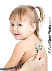 Pediatric doctor examining little baby girl with stethoscope isolated on white