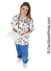 Nurse dressed in scrubs with stethoscope and medical records. Shot with a Canon 20D.