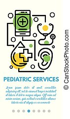 Pediatric services banner, outline style