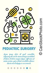 Pediatric surgery banner, outline style