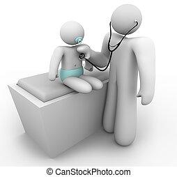 A pediatrician doctor examines a baby patient
