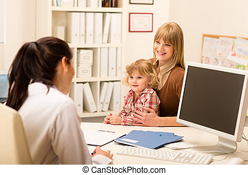 Pediatrician consultation mother with daughter