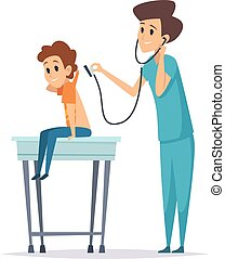 Pediatrician diagnosis. Boy visit doctor, hospital patient. Flat child with nurse, health protection or kids flu prevention vector illustration