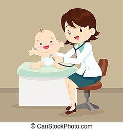 Pediatrician doctor examining little baby