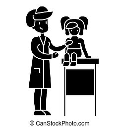 pediatrician doctor, medical examination of young baby with stethoscope icon, vector illustration, sign on isolated background