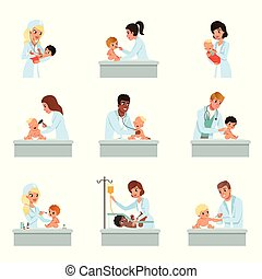 Pediatrician doctors doing medical examination of little...