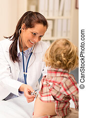 Pediatrician examine child girl with stethoscope