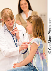 Pediatrician examine girl chest with stethoscope