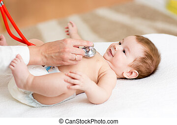 Pediatrician examines three months baby boy. Doctor using a stethoscope to listen to kid's chest checking heartbeat.