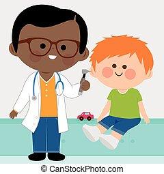 Pediatrician examining a little boy - Vector illustration of...
