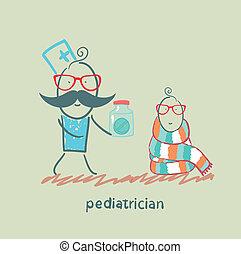 pediatrician giving medicine to a child