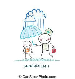 pediatrician holding an umbrella over the child in the rain