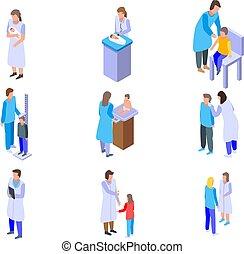 Pediatrician icons set, isometric style