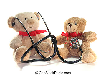 Pediatrician - Teddy-doctor and Teddy-child listens on a...