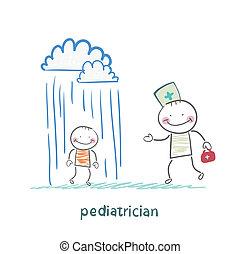 pediatrician talking to a sick child in the rain