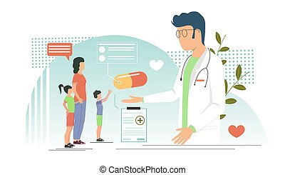 Pediatrician vector concept for web banner, website page