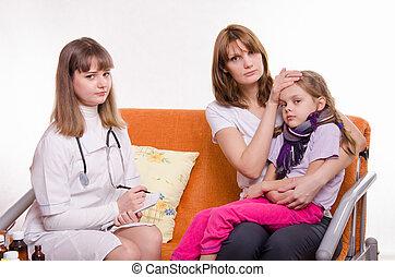 Pediatrician visits a sick child at home