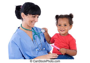 Pediatrician with a beautiful baby girl