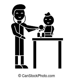 pediatrician with child  icon, vector illustration, sign on isolated background