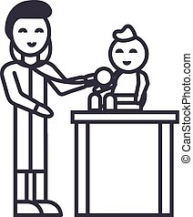 pediatrician with child,kid doctor vector line icon, sign, illustration on background, editable strokes