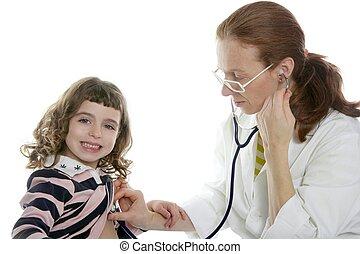 Pediatrician woman doctor stethoscope girl