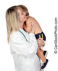 Pediatrician woman with a scared baby