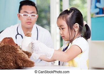 pediatrician's, 女の子, アジア人, オフィス