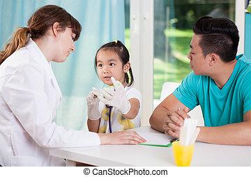 pediatrician's, família, asiático, escritório