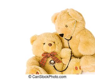 Pediatrics - Teddy bears with stethoscope posing as doctor...