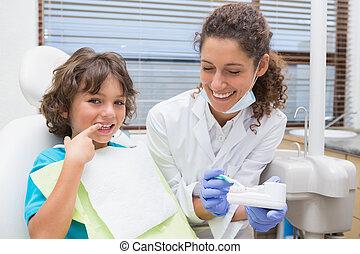 pediatrisk, tandlæge, viser