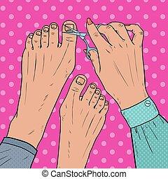 pedicure, bellezza, salon., arte popolare, femmina porge, cure, circa, piede, nails., unghie, taglio, con, scissors., vettore, illustrazione