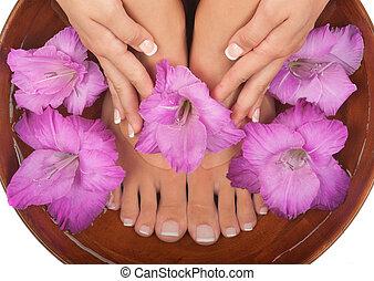pedicure, e, manicure, spa