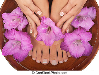 pedicure, en, manicure, spa