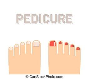 Pedicure feet illustration