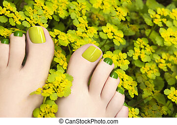 Pedicure in flowers plants. - Colorful summer pedicure in...