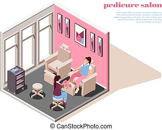 Pedicure Isometric Composition