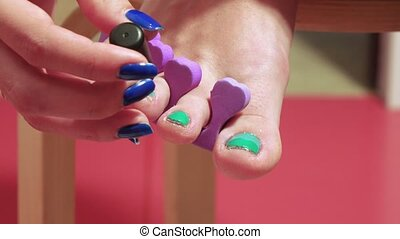 Pedicure of small nails on the feet