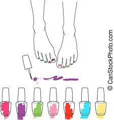 pedicure, piedi, vettore, mestiere pedicure, femmina