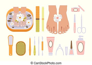 Pedicure set, female feet in spa bowl with flower and tools for a pedicure, beauty and spa salon vector Illustration