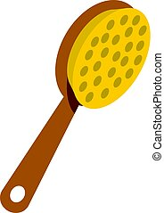 Pedicure tool with wooden handle icon isolated
