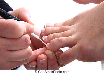 pedicure (work with womens nails) isolated on the white background