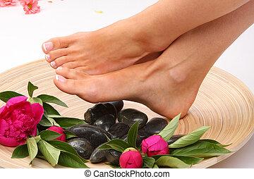 pedicured, belleza, foto, pies, tratamiento, agradable
